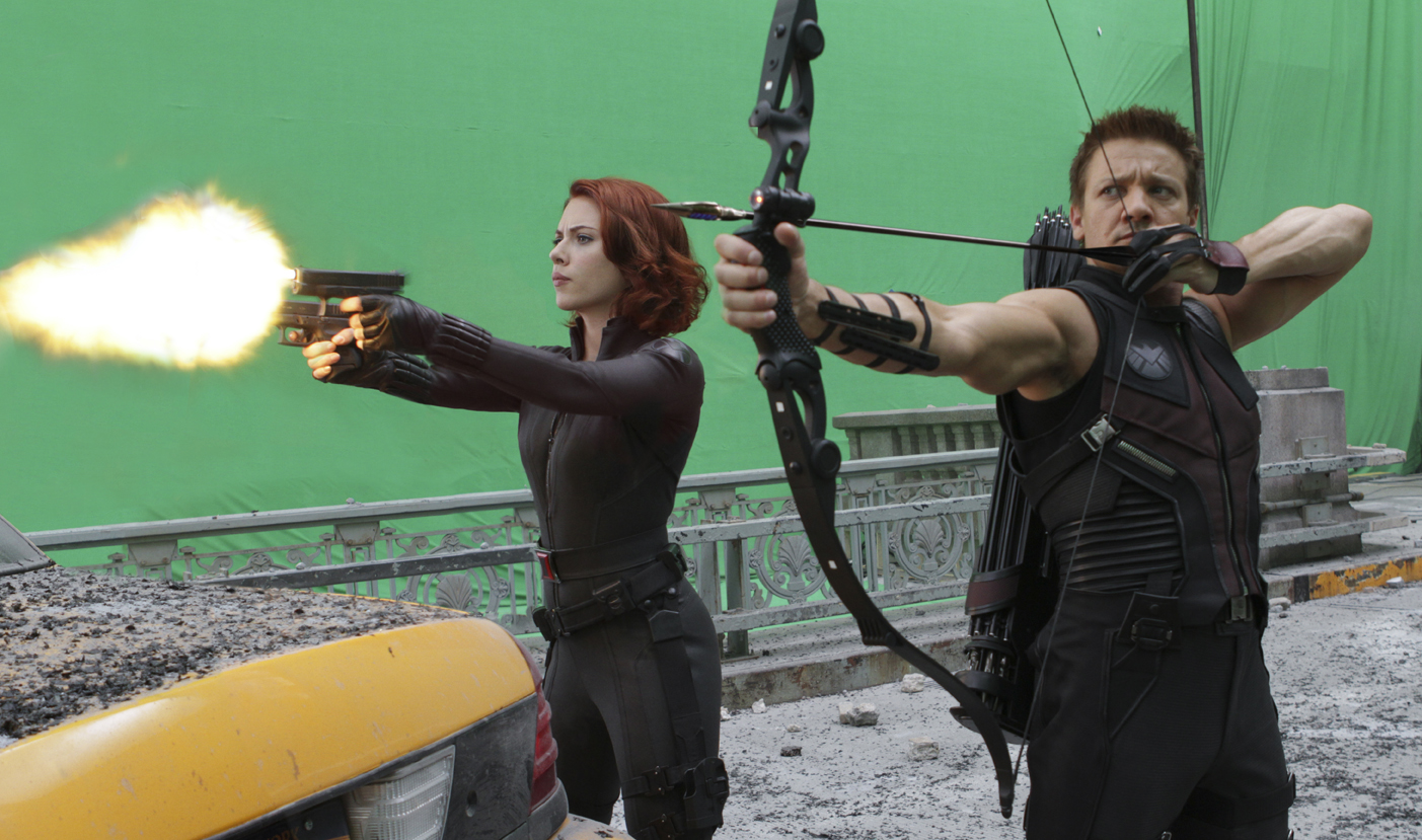 "Courtesy of Marvel Studios/Zade Rosenthal Scarlett Johansson, left, as Black Widow and Jeremy Renner, as Hawkeye in a scene from ""The Avengers."" The green screen work was done at Albuquerque Studios. agomez@abqjournal.com Tue May 01 12:34:51 -0600 2012 1335897265 FILENAME: 130159.jpg"